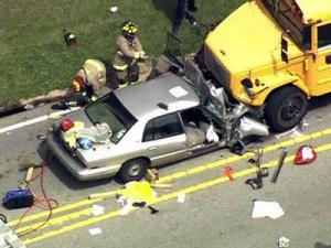 Two people were injured on June 4, 2010, when their car collided head-on with a school bus in Holly Springs.