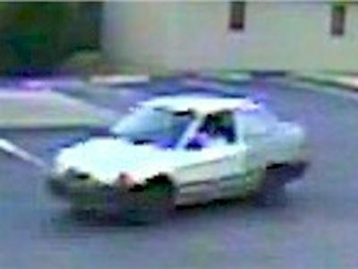The Fayetteville Police Department is seeking information and the whereabouts of two men who drove this white car and robbed Rudino's restaurant at 1040 Bragg Blvd. on two separate occasions.
