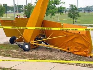 A small plane crashed in the parking lot of Veterans Park in Wilmington on Sunday, June 13, 2010. (Photo from WECT)