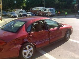A fire truck and a sedan were involved in a wreck at Martin and Dawson streets in downtown Raleigh Friday, July 2, 2010, police said.