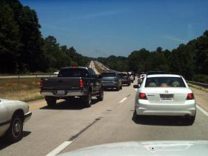 Traffic backs up on westbound I-40 near N.C. 42 following a July 5, 2010, wreck. (Photo by Sumner Alford)