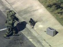 Raw video: Bomb squad member inspects package