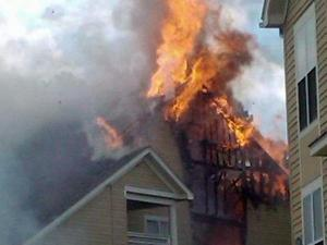 UNC football player Michael McAdoo posted this photo of the apartment fire on his social networking Twitter page.