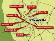 Fayetteville sexual assault map (serial rapist)