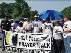 Members of 22 churches gathered on Saturday, July 24, 2010, for a prayer walk against violence in Goldsboro.