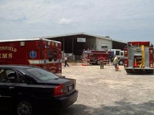A fire stopped a live stock auction at 276 Packing Plant Road  in Smithfield on Aug. 12, 2010. (Photo by Charles Vester)