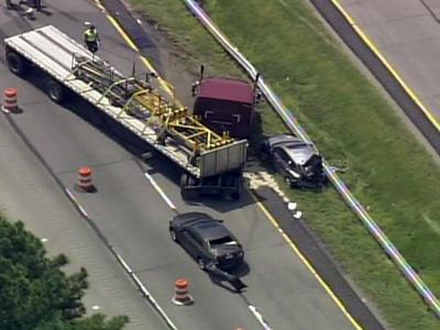 A wreck involving a tractor-trailer shut down Interstate 95 north in Johnston County on Aug. 17, 2010.
