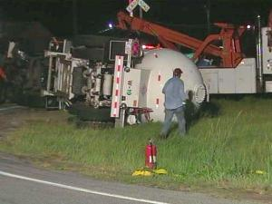 U.S. Highway 70 in Selma closed in both directions on Wednesday, Aug. 18, 2010, when a propane truck overturned.