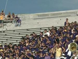 Some East Carolina University fans were injured Sunday, Sept. 5, 2010, when several rows of bleachers collapsed at Dowdy-Ficklen Stadium in Greenville.