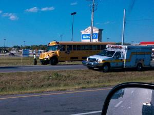 A Hoke County school bus ran into a car at the intersection of Fayetteville and Club Pond roads in Raeford Wednesday, Sept. 15, 2010. (Photo from viewer)