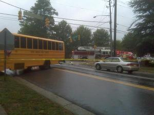 A Wake County school bus and car collided Monday, Sept. 27, 2010, at Falls of Neuse and Newton roads in Raleigh.