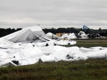 The wreckage of two blimps lies in a field near Weeksville, N.C., on Oct. 1, 2010, following a midair collision during a storm. (Photo courtesy of Lt. Bill Ward, Pasquotank County Sheriff's Office)
