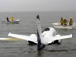 A chartered jet skidded off an airport runway in Manteo on Oct. 1, 2010, and ended up in Croatan Sound. No one was seriously injured.