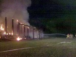 Flames destroyed a barn on Horse Shoe Farm Road in Wake Forest on Oct. 11, 2010. (Photo courtesy of Kevin Ricks)