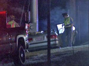 A man was killed and two women were hospitalized after their car crashed into a road sign along U.S. 401 North in Raleigh late Saturday, Oct. 16, 2010.