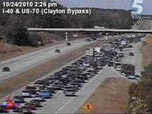 State troopers said that a wreck involving a motorcycle Sunday afternoon was causing delays on Interstate 40 West from Clayton into JohnstonCounty.