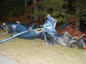 Moore County authorities were investigating a head-on crash Sunday night, Oct. 24, 2010, involving two cars on N.C. Highway 211, just west of Seven Lakes. (Photo courtesy of Frank Staples)