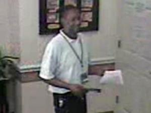 Fayetteville police are trying to identify a man who poses as a fire marshal to gain access to businesses, where he steals items.
