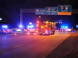 A pedestrian was struck and killed by a vehicle on Capital Boulevard, near Interstate 440, around 3 a.m. Saturday, police said. (Photo courtesy of Tim Callihan)