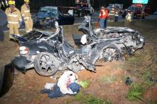 Three people were killed in a wreck on N.C. Highway 24-27 east of Biscoe in Montgomery County on Saturday, Nov. 6, 2010. (Photo courtesy of Frank Staples, Safety Officer/Cypress Pointe Fire and Rescue)