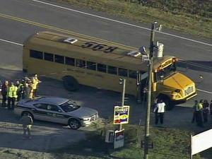 Emergency crews responded to a school bus crash at N.C. Highway 96 near Halifax Road Wednesday morning.