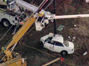 A car crashed into a utility pole on N.C. Highway 231, near Covered Bridge Road, around 2:30 a.m. on Friday, Nov. 12, 2010.