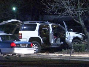 Suspects in armed robbery crashed into a tree along Lake Wheeler Road in Raleigh while fleeing from police early Thursday, Dec. 23, 2010.