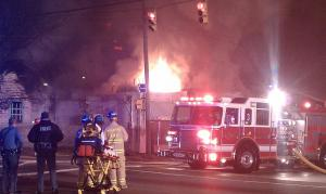 Emergency crews respond to a fire at Martin Street Groceries in Raleigh on Jan. 5, 2011.