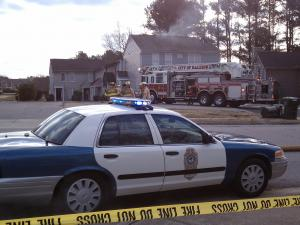 Raleigh emergency crews battle a fire at a townhouse complex at 4716 Hoyle Drive on Wednesday, Feb. 23, 2011.