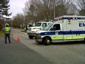 Emergency vehicles were on the scene but no injuries were reported due to a gas leak in north Raleigh Monday afternoon.