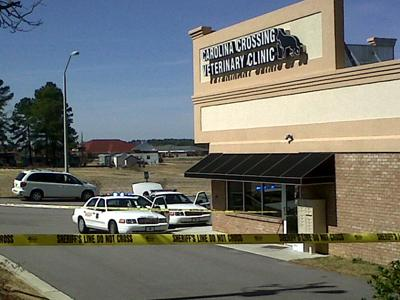 Johnston County sheriff's authorities respond to a shooting at Carolina Crossing Veterinary Clinic Tuesday, March 8, 2011.
