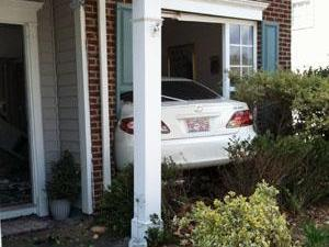 A car crashed into a home on October Road in Raleigh on March 16, 2011. (Submitted by Jaime McLain)