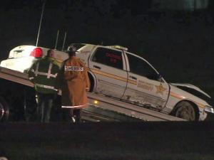 Nash County sheriff's deputy's cruiser crashed into a utility pole along N.C. Highway 97, near N.C. Highway 581, south of Spring Hope, late Wednesday, March 24, 2011.