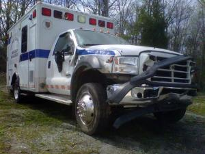 An Orange County ambulance was damaged on April 1, 2011, after a man stole it and crashed into several parked vehicles before police could apprehend him.