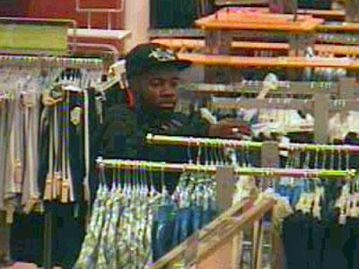 Fayetteville police are trying to identify the man seen in these surveillance images. He is accused of stealing clothing and pulling a knife on employees at the Belk store at Crosscreek Mall on May 1, 2011.
