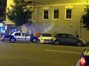 A Raleigh police officer was involved in a wreck at Martin and Wilmington streets late Thursday, May 12, 2011.