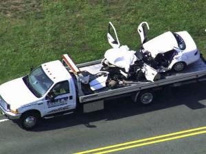 Sky 5 aerial footage of a damaged car after a fatal wreck in Angier Wednesday.
