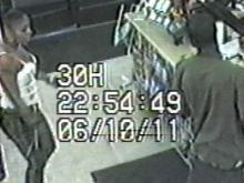 A surveillance image of the suspect in an attempted armed robbery and attemped carjacking in New Kent County, Va., on June 11, 2011.