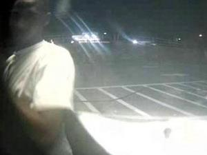 A surveillance image of a man suspected in a robbery on Pliot Avenue in Fayetteville on June 12, 2011.