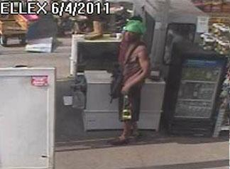 Fayetteville police say the man seen this surveillance photo robbed a Lowe's Home Improvement Store on June 4, 2011.