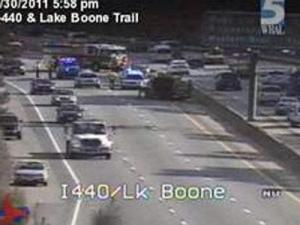 A traffic camera image of a wreck on I-440 eastbound near Lake Boone Trail in Raleigh on June 30, 2011.