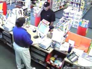 Cary police released a photo from surveillance video of a man who robbed a CVS pharmacy, at 2995 Kildaire Farm Road, around 6:45 p.m. Saturday, July 9, 2011.