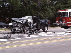 A pickup truck driver was seriously injured on July 15, 2011, in a head-on collision on Rowan Street in Fayetteville after driving the wrong way through traffic, police said.