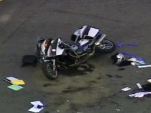 Sky 5: Cary police motorcycle crash scene