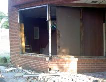 A vehicle crashed into a brick building at Lakewood Avenue and Blackwell Street in Durham around 5:15 a.m., Saturday, July 23, 2011, police said.