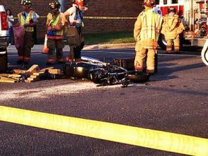 A look at the motorcyle involved in a wreck with a pick-up truck in Cary on Aug. 24, 2011.