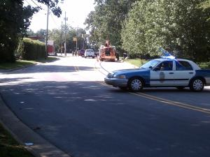 Police blocked traffic in Raleigh at the scene of a gas leak Wednesday.