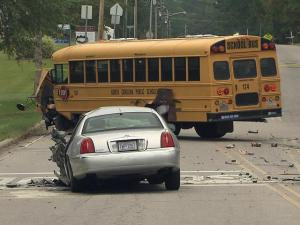 The driver of a vehicle that collided with a school  at Forest Hills Road and Cardinal Drive in Wilson Monday morning died, police said. It appears that no one on the bus was injured.