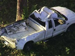 Dispatchers said this truck overturned in the 2900 block of Creech Mill Road in Smithfield on Oct. 20, 2011. The driver fled from the scene.