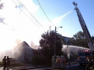 Firefighters battled a two-alarm fire at 609 S. Blount St. in downtown Raleigh Thursday, Oct. 27, 2011.